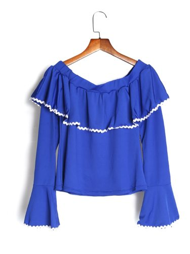 Women's T Shirt Flare Sleeve Patchwork Solid Color Slash Neck Sexy Long Sleeve