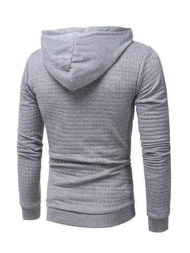 Men's Hoodie Solid Color Cotton Blends Casual Plaid Hooded Long Sleeve