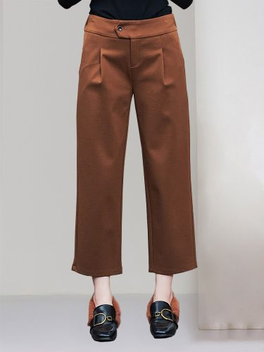 E·BECKY Women's Casual Pants Color Top Fashion All Match Solid Loose