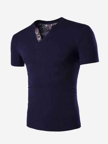 Men's T Shirt Fashion Short Sleeve Daily Floral V Neck