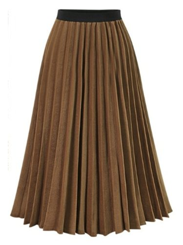 Women's Pleated Skirt Patchwork Chiffon Midi Solid Color High Waist Regular Crimping Casual
