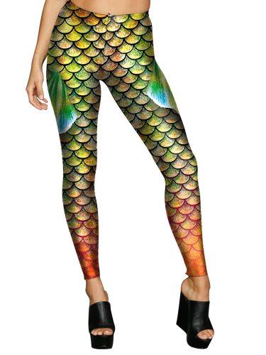Women's Leggings Fish Scale Print Yoga Sport Casual Low Waist Floral Print Slim Ninth