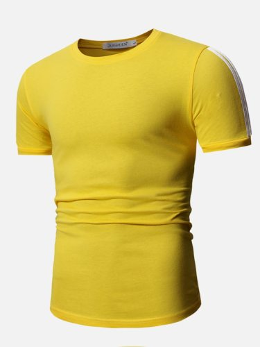 Men's T Shirt Color Slim Fashion Short Sleeve Crew Neck Solid