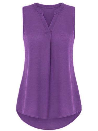 Women's T Shirt Casual V Neck Solid Color Top Fashion Sleeveless