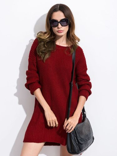 Solid Hem Long Sleeve Casual Loose Crew Neck Split