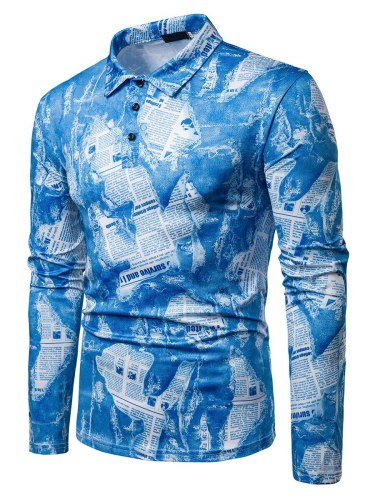 Men's Polo Shirt Print Letter Casual Loose Long Sleeve Turn Down Collar