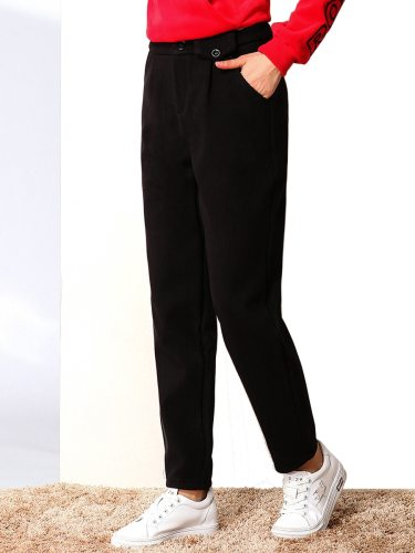 E·BECKY Women's Pants Color Thickened Warm Casual Loose Solid