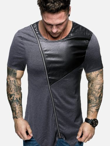 Men's T-Shirt Color Block Leisure Patchwork Short Sleeve Casual Crew Neck Going Out
