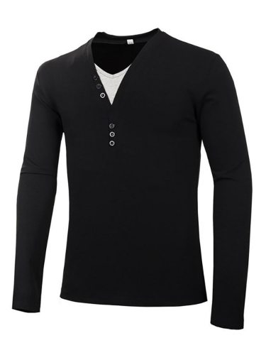 Men's T Shirt Solid Slim V Neck Long Sleeve Going Out Patchwork Casual