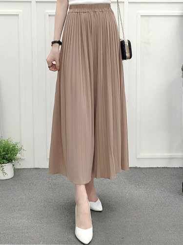 Women's Pleated Wide Leg Pants Loose Solid Color High Waist Ninth Casual Elastic Waist