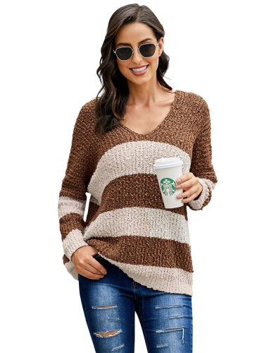 Women's Pullover Sweater Wavy Striped Loose Slim Casual V Neck Long Sleeve