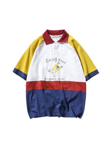 Men's Polo Shirt Short Sleeve Cartoon Patchwork Casual Turn Down Collar Loose Half Colorblock