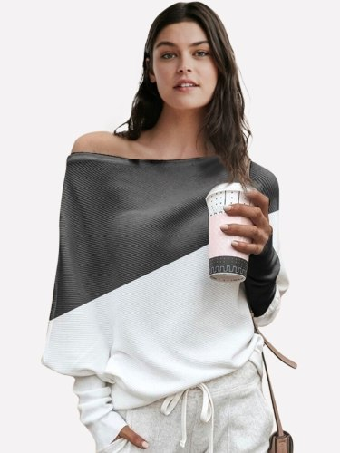 Women's T Shirt Batwing Sleeve Colorblock Long Sleeve Patchwork Sexy Slash Neck Loose