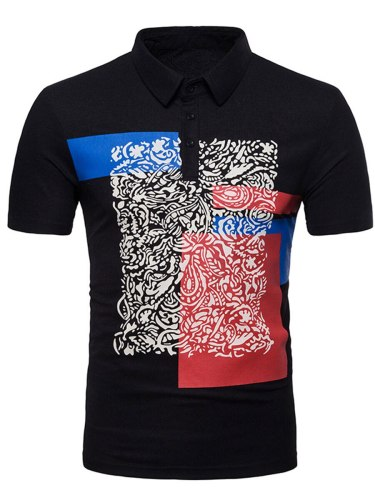 Men's Polo Shirt Fashion Simple ing Print Turn Down Collar Casual Short Sleeve