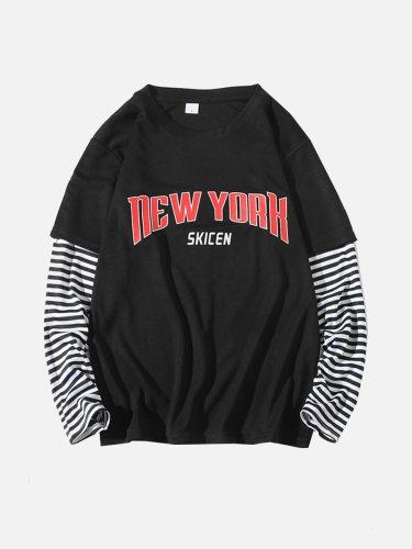 Men's T Shirt Patchwork Striped Fashion Long Sleeve Crew Neck