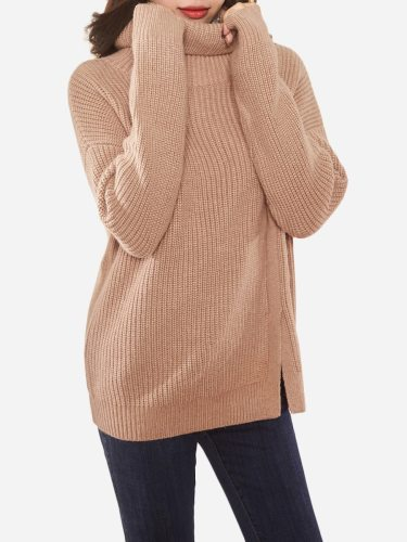 Tonlion Women's Sweater Soft Solid Color Elegant Split Turtle Neck Loose Long Sleeve