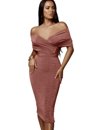Women's 2 Piece Skirt Set Fashion Slash Neck Top Bodycon Slim Strapless Sexy High Waist Solid Color