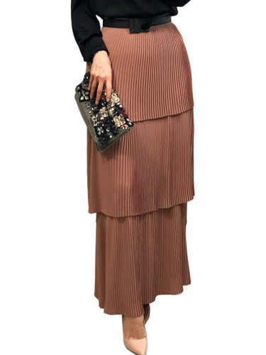 Women's A Line Skirt Casual Maxi High Waist Solid Color Pleated Slim