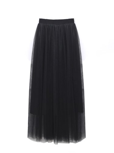 Women's Skirt Color Net Long Maxi Casual Solid