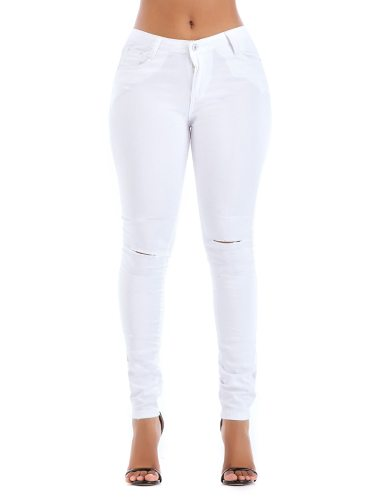 Women's Jeans Color High Waist Slim Casual Pocket Solid