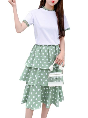 Women's 2Pcs Skirt Set Crew Neck T Shirt Elegant A Line Skirt Lace Shorts Sleeve Polka Dot Mid Waist Sweet Others