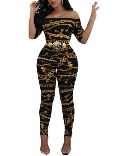 Women's Jumpsuit Chain Print Half Geometric Maxi Slash Neck Sexy Slim Mid Waist