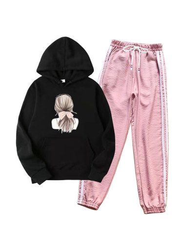 Women's 2Pcs Figure Print Hoodie Striped Harem Celebrity&Elegant Long Sleeve Patchwork Pocket High Waist