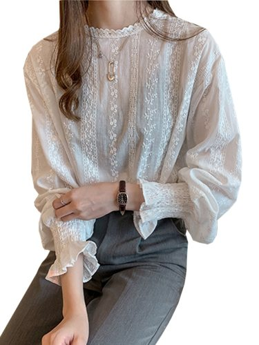 Women's Blouse Lace Long Sleeve Embroidery Top Fashion Solid Color Crew Neck