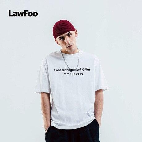 LawFoo Man's T Shirt Word Crew Neck Print Short Sleeve