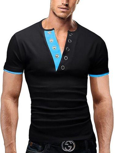 Men's T-Shirt Color Block Short Sleeve Patchwork V Neck Fashion