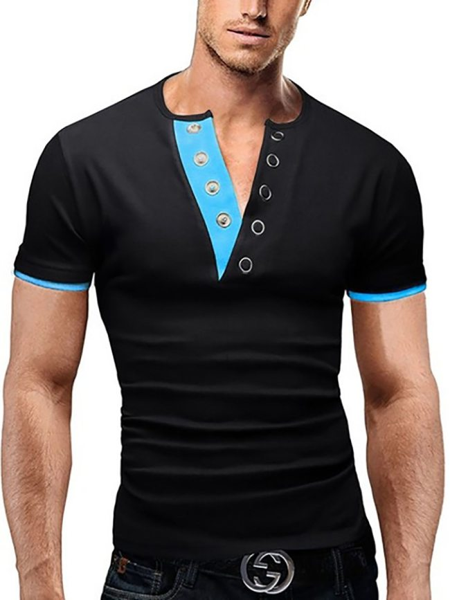 Men's T-Shirt Color Block Short Sleeve Patchwork V Neck Fashion