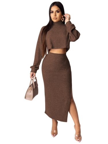 Women's 2Pcs Set Turtle Neck Top Simple Skirt Sexy Split Long Sleeve Solid Color Mid Waist Slim
