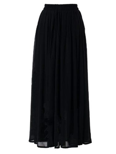 Women's Skirt High Waist A Line Long Solid Maxi Aline