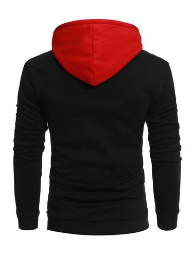 Men's Hoodie Fashionable Comfy All Match Patch Color Block Casual Long Sleeve Patchwork Hooded