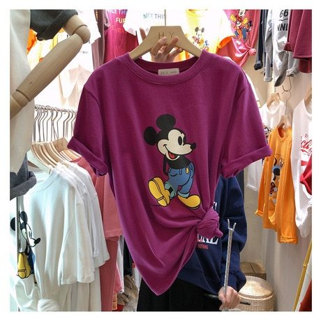 Women's T Shirts Regular Animal OL&Feminine OL Crew Neck Sweet Patchwork Short Sleeve Loose
