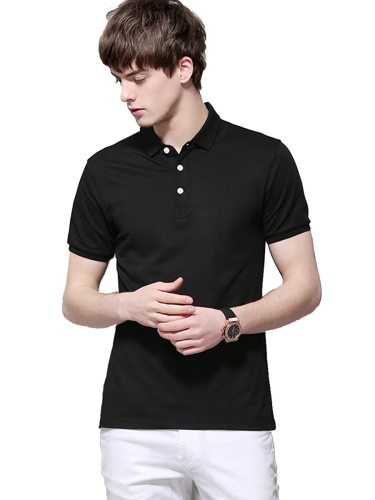 Men's Polo Shirt Fashion Color Casual Short Sleeve Solid Turn Down Collar Date