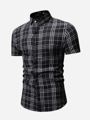 Men's Shirt Slim Plaid Short Sleeve Going Out Casual Turn Down Collar