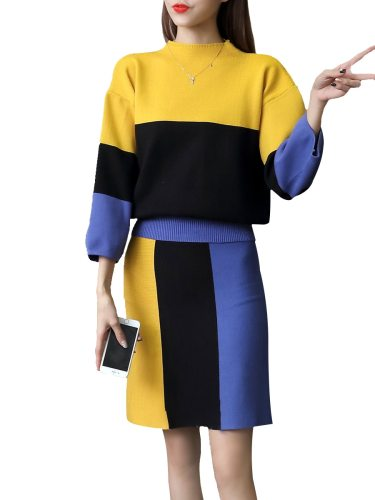 Women's 2Pcs Color Block Sweater Slim Skirt Long Sleeve Skirts Suits Crew Neck Colorblock