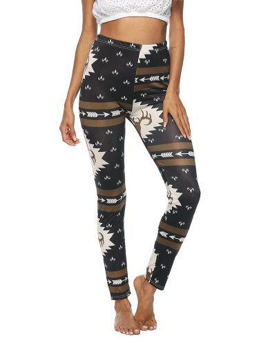 Women's Leggings Fashion Print Slim Ninth Sporty Mid Waist Abstract