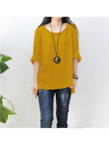 Women's Blouse Batwing Sleeve Long Sleeve Loose Solid Color Crew Neck Vintage