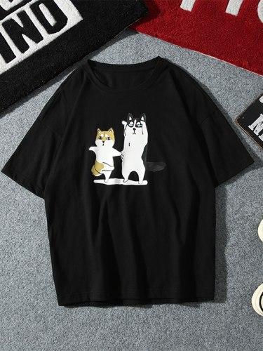 Men's T Shirt Animal Print Crew Neck Short Sleeve Casual
