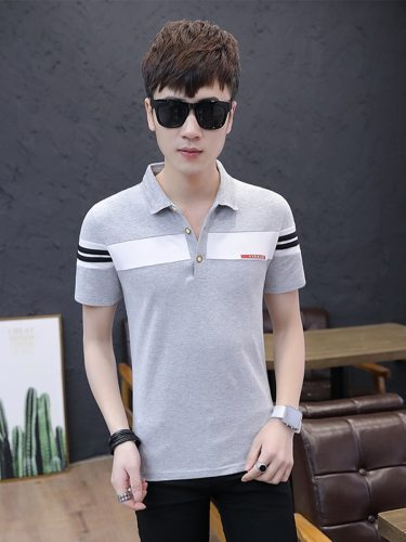 Men's Polo Shirt The accessories are not included Turn Down Collar Slim Casual Short Sleeve Patchwork