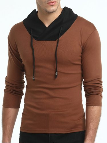 Men's Polo Shirt Color Block All Match Casual Polo Stand Collar Patchwork Long Sleeve Fashion