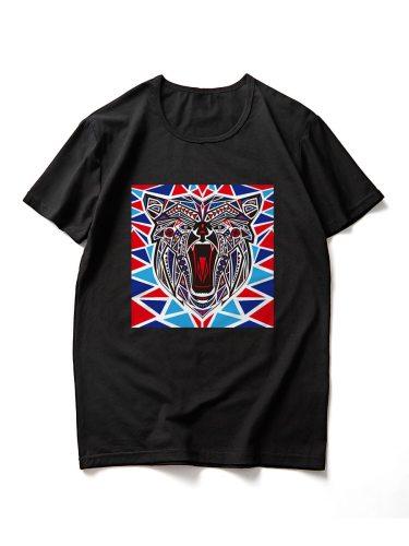 Men's T Shirt Animal Short Sleeve Crew Neck Slim Casual Geometric Travel
