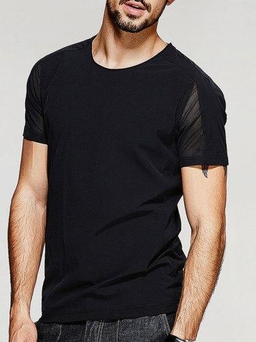 Men's T Shirt Cozy Casual T Short Sleeve Patchwork Crew Neck
