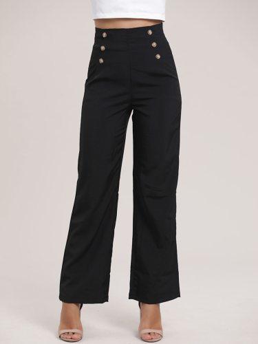 Women's Patchwork Fashion Mid Waist Zipper Button Wide Leg Pants Casual Solid Color