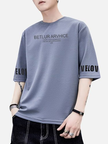 Man's T Shirt Sleeve Printed Letter Half Crew Neck Casual
