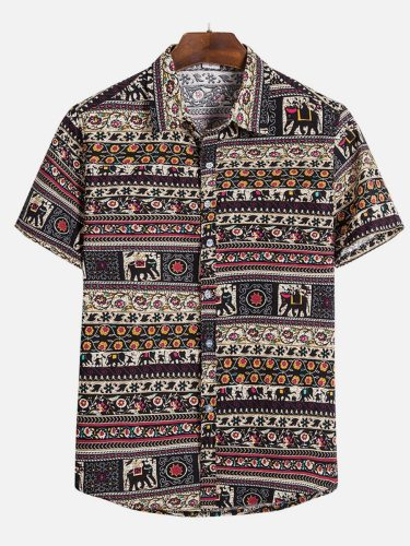 Men's Shirt Ethnic Style Casual Short Sleeve Going Out Turn Down Collar Print Fashion