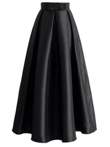 Women's Skirt High Waist Solid Long A Line Casual Maxi