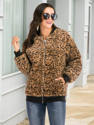 Women's Synthetic Fur Coat Leopard Patchwork Zipper Casual Long Sleeve Loose Stand Collar Animal